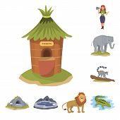 Isolated Object Of Zoo And Park Logo. Set Of Zoo And Animal Stock Symbol For Web. poster