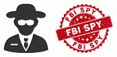Vector Secure Agent Icon And Rubber Round Stamp Watermark With Fbi Spy Text. Flat Secure Agent Icon  poster