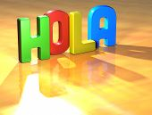 Word Hola On Yellow Background