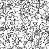 Seamless Pattern With Lots Of Funny Merry Christmas Snowmen, Coloring Page For Kids And Adults poster