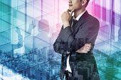 Double Exposure Image Of Success Business People On Abstract Modern City Background. Future Business poster