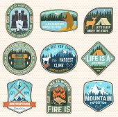 Mountain Expedition And Outdoor Adventure Badges. Vector Illustration. Concept For Badge, Patch, Shi poster