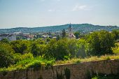 Hunedoara, Romania: View Of The Beautiful Summer Landscape, View From The Castle Corvin Castle, Huny poster