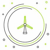 Black And Green Line Wind Turbine Icon Isolated On White Background. Wind Generator Sign. Windmill F poster