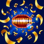Winner Banner, Falling Ribbons Winner. Winners Lottery Game Jackpot Prize Logo Vector Background Ill poster