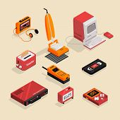 A Set Of 9 Isometric Illustrations Of Vintage Objects. Retro Style. Everyday Objects. poster
