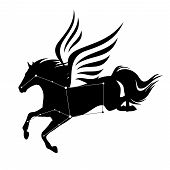 Flying Pegasus Horse And Star Constellation - Greek Mythology Inspiration Symbol And Astronomy Silho poster
