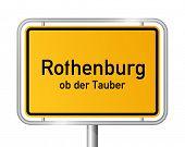 City limit sign ROTHENBURG OB DER TAUBER against white background - Bavaria, Bayern, Germany