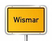City limit sign WISMAR against white background - Western Pomerania, Mecklenburg Vorpommern, Germany