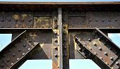picture of gusset  - railway bridge riveted joints historic corrosion abstract - JPG