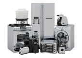 Set Of Kitchen And Home Appliances In Silver Color, 3d Rendering Isolated On White Background poster
