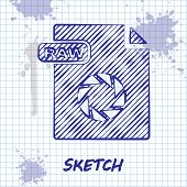 Sketch Line Raw File Document. Download Raw Button Icon Isolated On White Background. Raw File Symbo poster