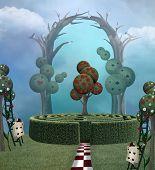 Wonderland Surreal Garden With A Maze - 3d Illustration poster