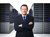 confident businessman in datacenter 3d