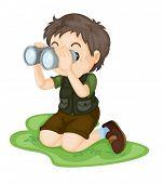 Illustration of boy using binoculars
