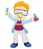 Illustration of a kid scientist
