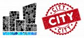 Collage City And Rubber Stamp Seal With City Phrase. Mosaic Vector Is Created With City Icon And Wit poster