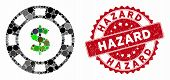 Mosaic Dollar Casino Chip And Rubber Stamp Seal With Hazard Text. Mosaic Vector Is Created With Doll poster