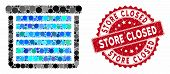 Mosaic Garage Closed And Grunge Stamp Seal With Store Closed Phrase. Mosaic Vector Is Composed With  poster
