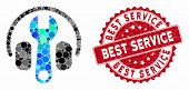 Mosaic Headphones Tuning Wrench And Rubber Stamp Watermark With Best Service Text. Mosaic Vector Is  poster
