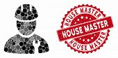 Mosaic Repairman And Distressed Stamp Seal With House Master Text. Mosaic Vector Is Formed From Repa poster