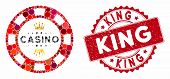 Mosaic Royal Casino Chip And Rubber Stamp Seal With King Text. Mosaic Vector Is Designed From Royal  poster