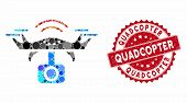 Mosaic Spy Drone And Rubber Stamp Seal With Quadcopter Caption. Mosaic Vector Is Formed With Spy Dro poster