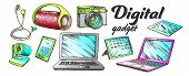 Digital Audio And Video Gadgets Retro Set Vector. Laptop And Tablet, Web And Photo Camera, Earphone  poster