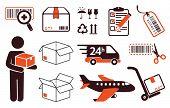 Mail delivery, transportation symbols