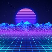 Futuristic Retro Landscape Of The 80`s In Neon Colors. Sun With Mountains In Retro Style. Digital Re poster