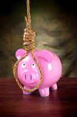A pink piggy bank against a dark, moody background prepared to hang himself with a noose.