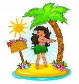 image of hula dancer  - girl dancing hula on a tropical island - JPG