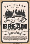 Bream Fishing Club, Retro Big Catch On Fishery. Vector Catches Fish And Forest Trees Silhouettes, Fi poster