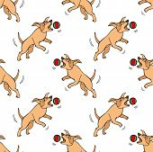 Hand Drawn Doodle Cute Dogs. Seamless Pattern With Playing Pets With Ball. Artistic Canine Vector Ch poster