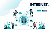Vector Illustration Internet Of Things. People Use Internet Iot For Social And Activities. Communica poster