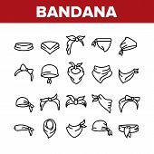Bandana Hats Collection Elements Icons Set Vector Thin Line. Bandana Windy Hair Dressing, Headband F poster