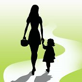 stock photo of mother daughter  - Mother with daughter and long way illustration - JPG