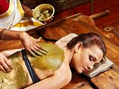 stock photo of panchakarma  - Young woman having body Ayurveda spa massage - JPG