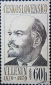 CESKOSLOVENSKO - CIRCA 1970: stamp printed by Ceskoslovensko shows portrait of Socialist lider Lenin