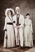 Family in retro tones