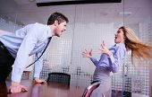 stock photo of scream  - Angry business man screaming at employee in the office - JPG