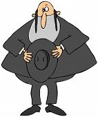 image of rabbi  - This illustration depicts a Jewish Rabbi holding his hat over his heart - JPG