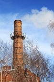 Old Smoking Chimney Of Thermal Power Station