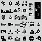 stock photo of pollution  - Road traffic info graphic icons - JPG