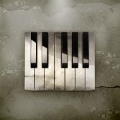 Octave, piano keys old-style vector
