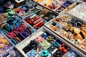 picture of heliotrope  - Colorful gemstones on sale at a flea market in Sibiu Romania - JPG