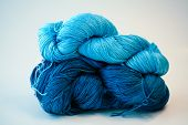 Blue yarn Stacked
