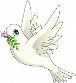 stock photo of noah  - Illustration of a cartoon dove with an olive branch - JPG