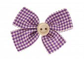 Purple plaid bow tie with beige button