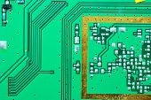 Close Up On A Processor Line Of The Old Electronic Circuit Boards  Background